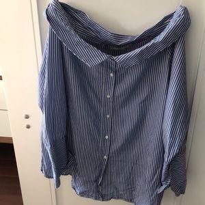 Off the shoulder striped shirt